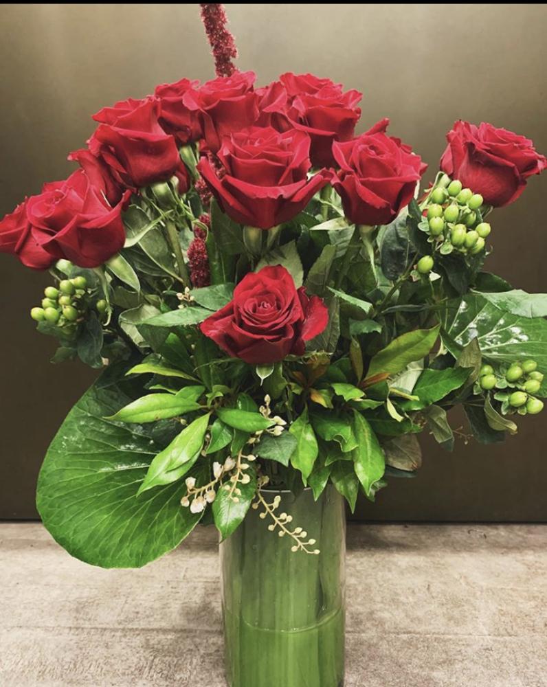 Love Romance 12 Roses Vase Arrangement
