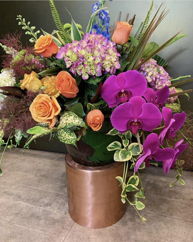 Large Fishbowl of seasonal blooms