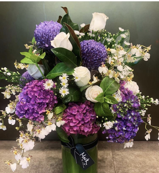 Vase Arrangement - mauves/purple